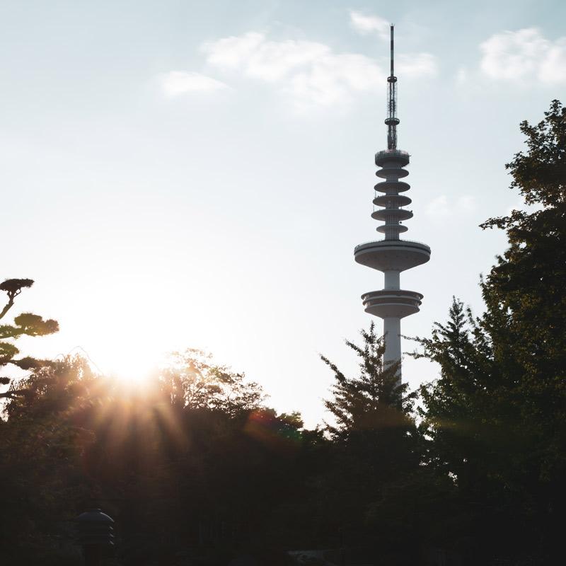 Hamburg Postkarten Set - Motiv: Planten un Blomen mit Fernsehturm